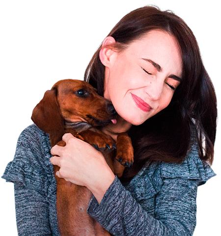 chica con perrito